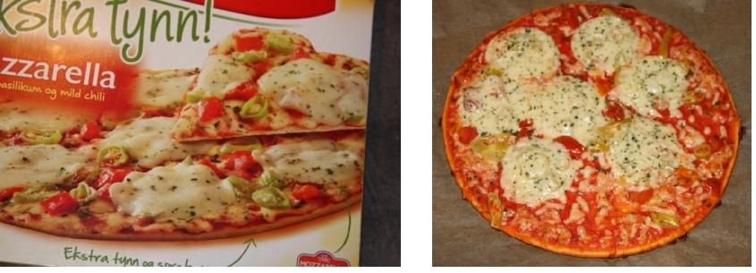 Bildet på esken og min ferdigstekte pizza. Ligner da litt?