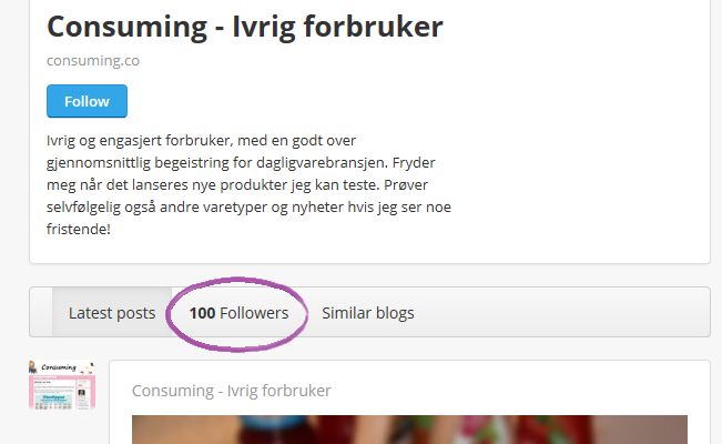 100 Followers på Bloglovi'n